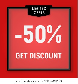 Sale 50 percent off, get discount website button. Shop window, behind glass design. Sale in black frame on red background vector illustration.