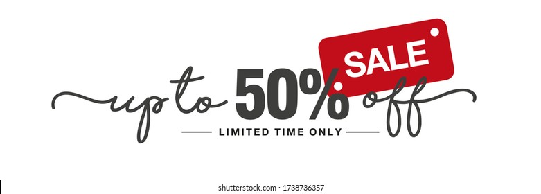 Sale up to 50 percent off handwritten and display tipography lettering black red white background banner