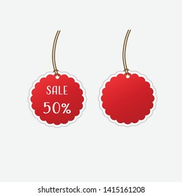 Sale 50 percents on red price tag and empty price tag vector illustration.