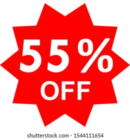 Sale - 55 percent off - red tag isolated - vector illustration