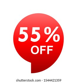 Sale - 55 percent off - red gradient tag isolated - vector illustration