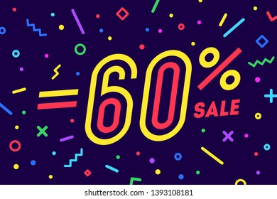 Sale -60 percent. Banner for discount, sale. Design of poster, flyer and banner in geometric memphis style with text -60 percent. Sticker, web banner for sale, discount. Vector Illustration