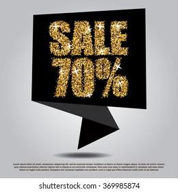 Sale 70% off black banner template. Golden glitter discount card. Gold sparkling promotion tag