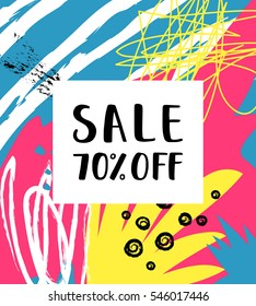 Sale 70% off Poster on the abstract background.