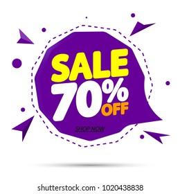 Sale 70% off, speech bubble banner, discount tag design template, app icon, vector illustration