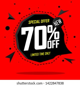 Sale 70% off, speech bubble banner, discount tag design template, special offer, app icon, vector illustration