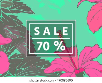Sale up to 70 per cent off. Web banner or poster for e-commerce, on-line cosmetics shop, fashion & beauty shop, store