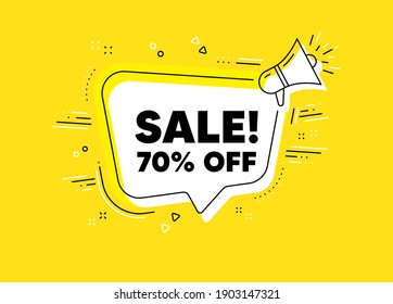 Sale 70 percent off discount. Megaphone yellow vector banner. Promotion price offer sign. Retail badge symbol. Thought speech bubble with quotes. Sale chat think megaphone message. Vector