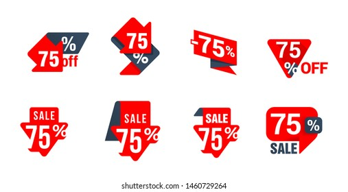 Sale 75% off sticker collection in eight different variations - creative tag badge