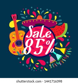 sale 85%, beautiful greeting card background or banner with colorful summer theme. design illustration