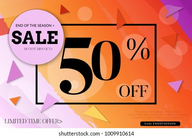 Sale advertisement banner with cut out of paper circle ,triangles with realistic shadow. Sale trendy poster with gold splashes and black frame. Rough colorful doodle fun special offer banner template.