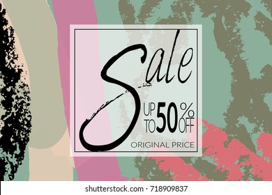 Sale advertisement banner on hand drawn background