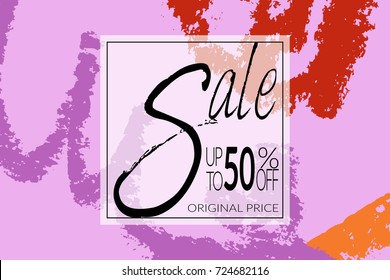 Sale advertisement banner on hand drawn background with rough sale lettering. Sale trendy poster with gold splashes and black frame. Rough colorful doodle fun special offer banner template.