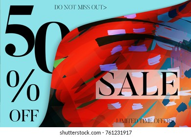 Sale advertisement banner on hand drawn background with curled peel out corner. Sale trendy poster with gold splashes and black frame. Rough colorful doodle fun special offer banner template.