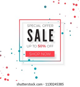 Sale advertisement banner. Special offer Sale geometrical poster. Vector illustration isolated on white background