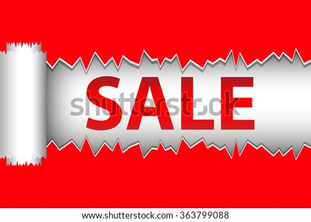 sale advertisment on red torn paper stock vector royalty free