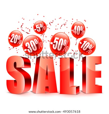 sale advertisment red balloons different discount stock vector