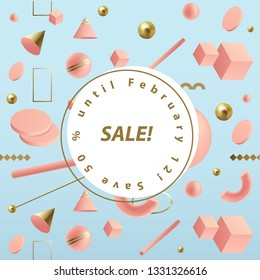 Sale announcement template in square format with pink 3D geometric shapes isolated on blue background, memphis style