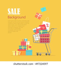 Sale background. Cart with gift boxes, paper bags, presents. Winter, summer, autumn, spring sale concept. Trolley full of things bought on discount. Hand cart truck with presents. Vector in flat style