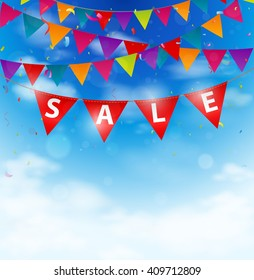 Sale background on bunting flags
