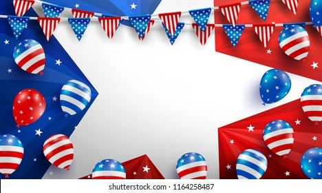 Sale background poster template for USA labor day celebration with American balloons flag,star and tools.Sale promotion advertising banner template for USA Labor Day Brochures,Poster or Banner