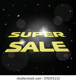 Sale background starwars styled. Super sale background. Sale poster on a cosmic background in star wars style. Vector illustration, eps 10