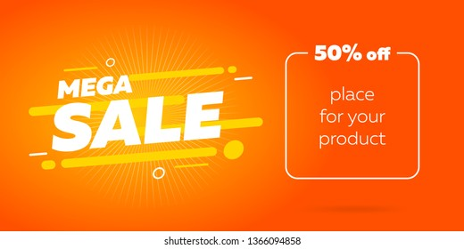 Sale badge banner design. Big mega sale template mockup. Special offer poster vector illustration. Colorful modern creative icon. Creative discount for print and web using.