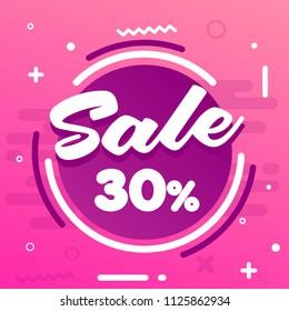Sale Badge Banner Template Design. Vector illustration. Special Offer Discount Promotion. Price Discount Offer. Season Sale Promo Sticker. 30% OFF