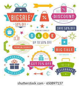 Sale Badges and Tags Design Vector Vintage Set for Banners, Promotional Brochures, Discount Poster, Shopping Flyer, Clearance Advertising. Collection Sale objects and icons.