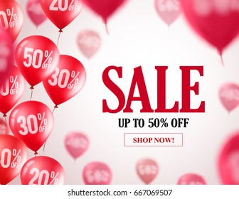 Sale balloons vector background. Flying red balloons with 50 percent off in the background for event and store promotion. Vector illustration.