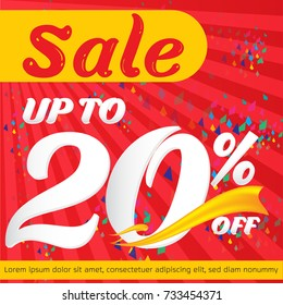 Sale banner up to 20% on red background template design - vector illustration