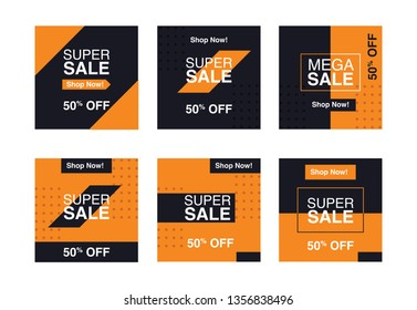 Sale banner ads for web and social media template. easy to edit and change the color. 6 set of banner