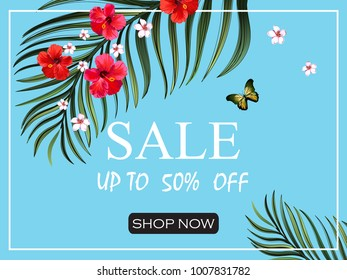 Sale banner. Beautiful vector summer background with tropical flowers, palm leaves, hibiscus.