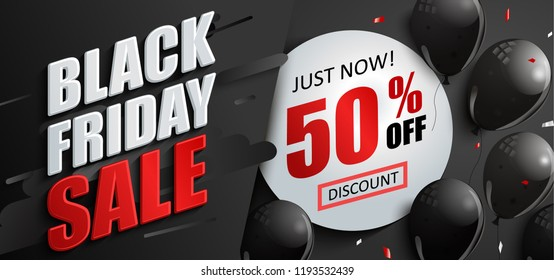 Sale banner for black friday with balloons and circle frame with 50 percent discount. Perfect template for flyers, discount cards, web, posters, ad, promotions, blogs and social media, marketing. Vect