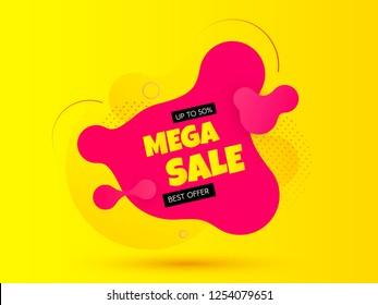 Sale banner. Bright background. Discount offer price tag. Trendy gradient fluid design. Vector illustration.