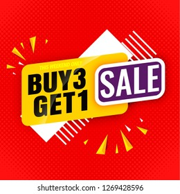 sale banner buy 3 get 1 red template