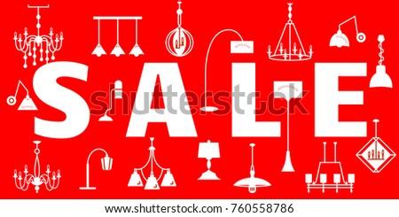 Sale Banner Chandeliers Pendant Lights Sconce Stock Vector Royalty