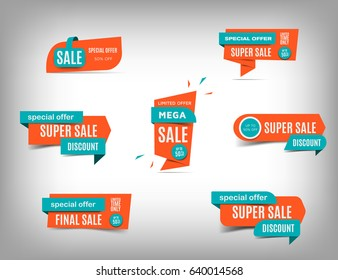 Sale banner collection, discount tag, special offer banner. Website stickers on a gray abstract background, color web page design. Set of discount banners. Vector illustration, eps10