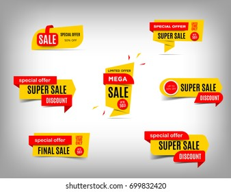 Sale banner collection, discount tag, special offer. Yellow and red website stickers on a gray abstract background, web page design. Price element, Vector illustration, eps10