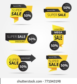Sale banner collection, discount tag, special offer banner