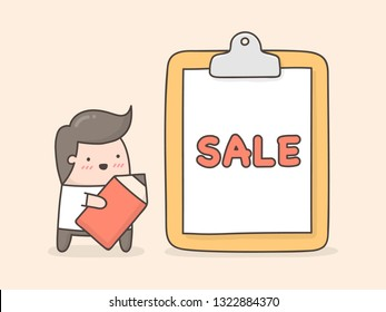 Sale banner. Cute doodle illustration.