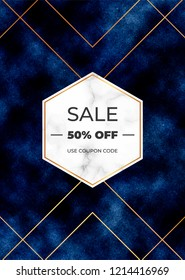 Sale banner with dark blue background with frame marble texture. Magic night design template for invitation, card, wedding, save the date, poster, flyer
