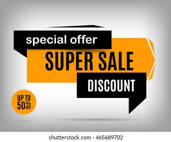 Sale banner design. Discount yellow poster, special offer. Sale poster. Super Sale banner. Sale sticker. Discount vector, discount eps10