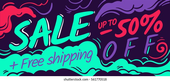 Sale banner design. Modern art. Free shipping special proposal concept template. up to 50% off. Vector illustration. Media buying art