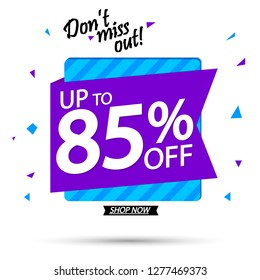Sale banner design template, up to 85% off, discount tag, app icon, vector illustration