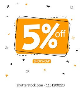 Sale banner design template, discount tag 5% off, vector illustration