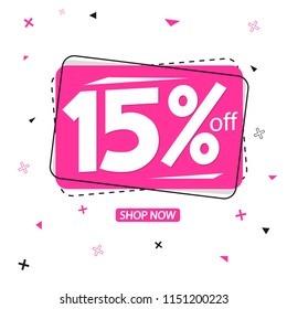 Sale banner design template, discount tag 15% off, vector illustration