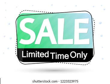 Sale banner design template, discount tag, limited time only,  vector illustration