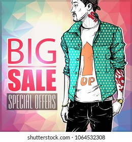 Sale banner with fashion boy. Vector.