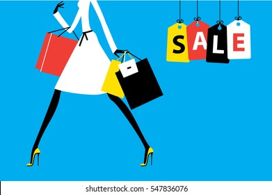 Sale banner Fashion woman walking with shopping bags. Sale on the hanging tags. Vector illustration